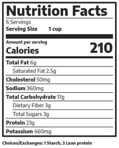 Chicken Nacho Nutrition Label