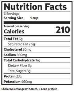 Chicken Nacho Nutrition Label