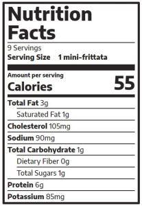 Egg Fritattas nutrition facts