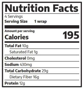 veggie wrap nutrition facts