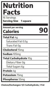blueberry bars nutrition facts